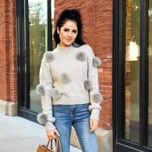 Tibi Pom Pom Gray Sweatshirt Sweater Gray
